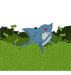 Business shark marine predator swimming in money vector