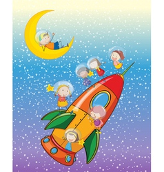 kids on moon and spaceship vector image