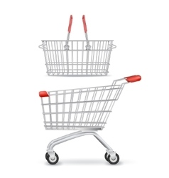 Wheeled shopping trolley and basket isolated vector