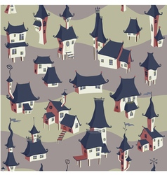 Cartoon old town seamless pattern vector