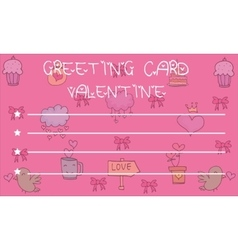 Greeting card valentine on pink backgrounds vector
