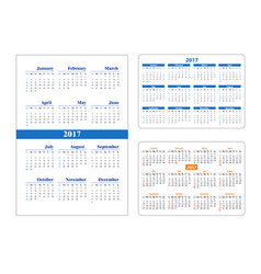 Set calendar on 2017 year vector
