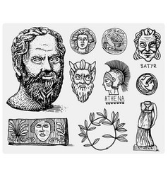 Ancient greece antique symbols socrates head vector