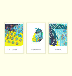 Set of universal tropic style posters vector