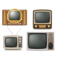 tv old retro vintage set icons stock vector image