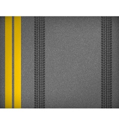Tire tracks on road vector