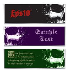skull artistic splatter banners black purple green vector image