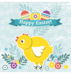Background with easter eggs and one chick vector