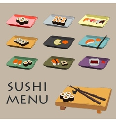 Icons various pieces of sushi vector