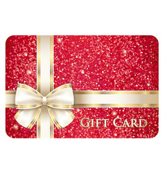 Red glossy gift card with cream ribbon vector