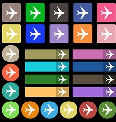 Plane icon sign set from twenty seven multicolored vector