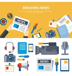 Breaking news and media banner elements concept vector