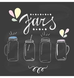Jars set hand drawn sketch vector