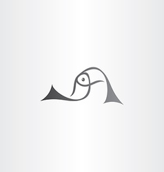 Black fish logo sign element vector