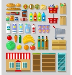 Shop supermarket set vector