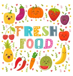 Fresh food healthy lifestyle cute happy fruits and vector