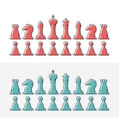 Flat design outline chess silhouettes collection vector