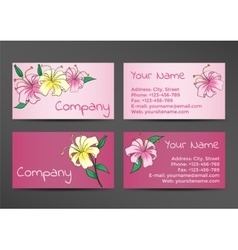 Pink business cards template with lily flowers vector