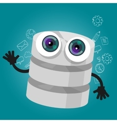 Database big data storage cartoon hands eyes vector