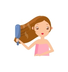 Girl straightening the hair vector
