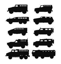 Combat military cars silhouettes set vector