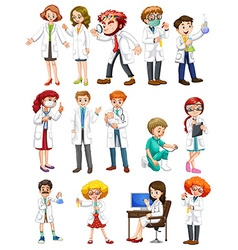 Male and female scientists in white gown vector