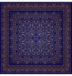 Blue handkerchief with golden ornament vector image vector image