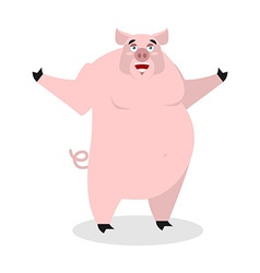 Cheerful pig spread his arms in an embrace vector