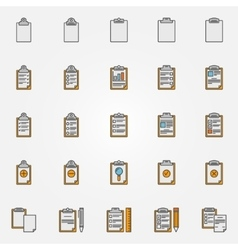 Clipboard colorful icons vector