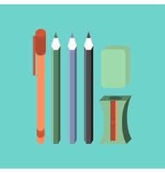 flat icon on stylish background pencil eraser pen vector image