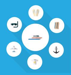 Flat icon season set of beach sandals ship hook vector