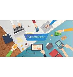 flat style online e-commerce icons mobile store vector image