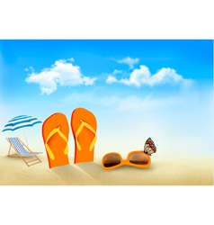 Flip flops sunglasses beach chair and a butterfly vector