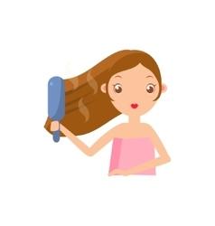 Girl straightening the hair vector