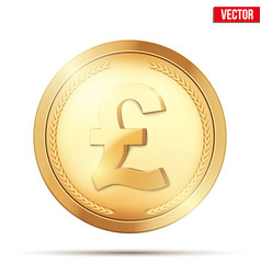 gold coin with pound sign vector image
