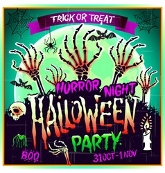 Halloween party horror night poster design vector