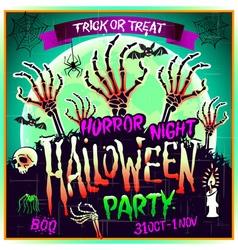 Halloween party horror night poster design vector