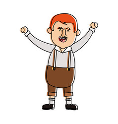 Happy man in folk german costume raising arms icon vector