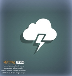 Heavy thunderstorm icon on the blue-green abstract vector