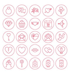 Line Circle Valentine Day Icons Set vector image