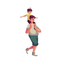 Little boy sitting on father shoulders and vector