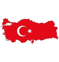 Map of turkey turkish flag vector