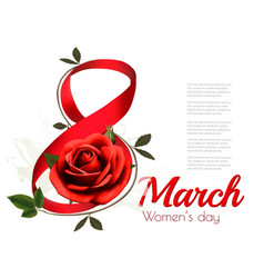 March with red rose international womens vector