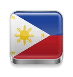Metal icon of Philippines vector image vector image