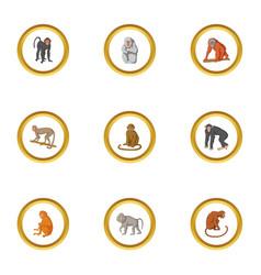 monkey icons set cartoon style vector image vector image
