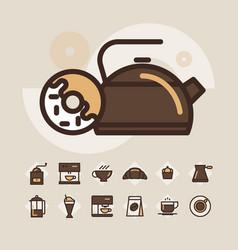 outline web icon set - drink coffee tea vector image vector image