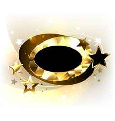 Oval polygonal banner with stars vector