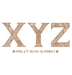 paisley henna alphabet x y z vector image