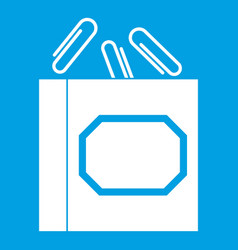 Paper clips box icon white vector