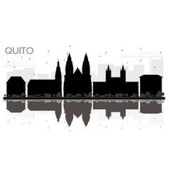 quito ecuador city skyline black and white vector image vector image